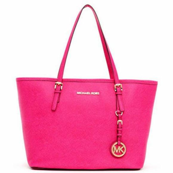 Michael Kors Handbags - Michael Kors Jet Set  Zinnia Hot Pink Large Tote